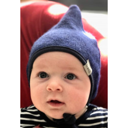 Kids double layered beanie with straps for autumn/winter DROP Cornflower