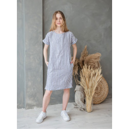 Woman soft linen dress with bluish and light cream stripes