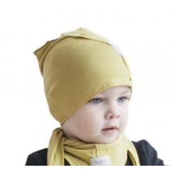 Kids thin stretchy cotton beanie UPSIDEDOWN - lemon