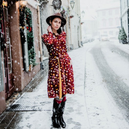 Impressive and stylish patterned LIMITED EDITION dress PARIS from capsule collection burgundy/mustard