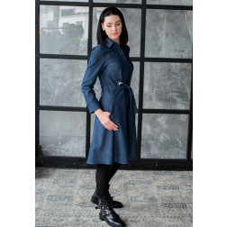 Impressive denim female dress MILAN with striped belt