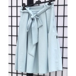 Impressive female linen/viscose skirt TAHO baby blue with dots