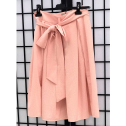 Impressive female linen/viscose skirt TAHO baby pink with dots