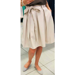 Impressive female linen/viscose nude skirt TAHO