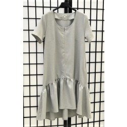 Impressive linen/viscose female dress with strap LISABONA Grey