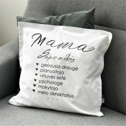 Interior pillow with print MAMA, white