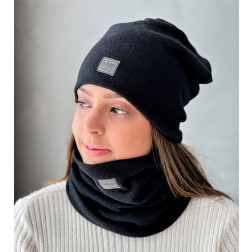 Woman beanie for spring fall or winter BUBOO luxury - Black