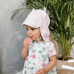 BEAR summer kids beanie with visor, laces and neck protection (softened linen) - pink