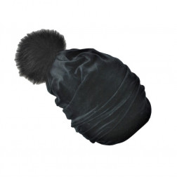SCREW POMPOM double layered velour beanie charcoal with fur pompom, black