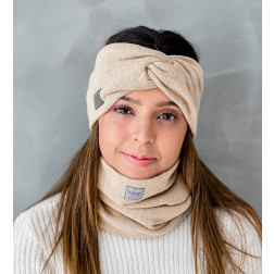 Stylish woman headband for spring autumn or winter, Camel