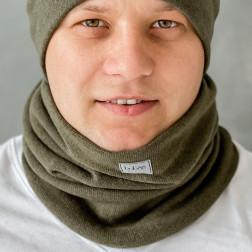 Stylish man snood scarf for spring fall or winter BUBOO luxury - Chaki