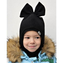Stylish fall winter mohera wool kids helmet FASHIONISTA black