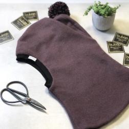 Stylish fall winter mohera wool kids HELMET with pompom eggplant