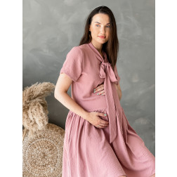 Woman dress with short sleeves LIMA Bow, ash rose