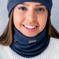 Stylish woman snood scarf for spring fall or winter- Dark blue
