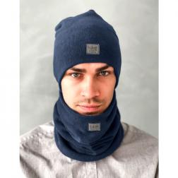 Man beanie for spring fall or winter BUBOO luxury - Dark blue