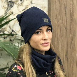 Woman fall winter beanie hat - Dark blue