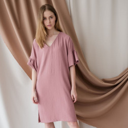 Woman dress with ruffles on the sleeves PARMA, ash rose