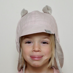 BEAR summer kids beanie with visor, laces and neck protection (100% cotton) - blush powder