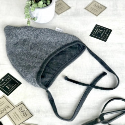 Kids egyptian wool beanie with straps for autumn/winter DROP grey