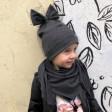 Extremely stylish girl doublelayered beanie with a tulle FASHIONISTA dark grey