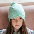 Kids thin stretchy cotton beanie UPSIDEDOWN - mint