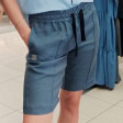 Female stylish soft linen leisure shorts BUBOO active, jeans color