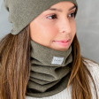Stylish woman snood scarf for spring fall or winter - Chaki