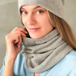 Stylish woman snood scarf for spring fall or winter - Grey