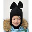 Stylish fall winter mohera wool kids helmet FASHIONISTA black