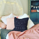 Interior pillow with print AA PUPA, dark grey