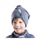 Kids thin stretchy cotton beanie UPSIDEDOWN - bluberry