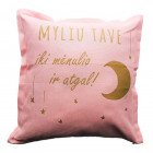 Interior pillow with print MYLIU TAVE, ash rose