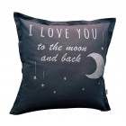 Interior pillow with print LOVE YOU TO THE MOON AND BACK, dark grey