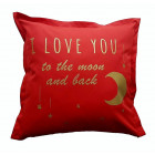 Interior pillow with print LOVE YOU TO THE MOON AND BACK, red