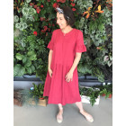 Female stylish soften linen dress ARUBA Raspberry
