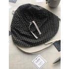 BEAR summer kids beanie with spout, laces and neck protection (100% cotton) - black with white dots
