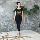 Female stylish T-shirt with print MOM SUPERPOWER, black