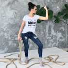 Female stylish T-shirt with print MOM SUPERPOWER, white