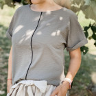 Female stylish viscose blouse TAHO with stylish strip in the front, chaki