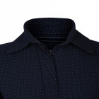Dotted female dress MARSEILLE dark blue with hidden zipper and belt