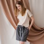 Female stylish linen/viscose blouse TAHO with short sleeves and hidden zipper in the front, sand
