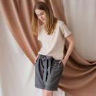 Female stylish shorts with belt TAHO, anthracite
