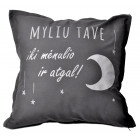 Interior pillow with print MYLIU TAVE, greyish