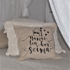 Interior pillow with print NAMAI KUR ŠEIMA, champagne
