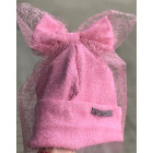 Extremely stylish girl beanie with a tulle FASHIONISTA pink