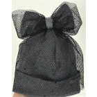Extremely stylish girl beanie with a tulle FASHIONISTA sparkle light grey