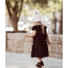 Extremely stylish girl beanie with a tulle FASHIONISTA white/golden