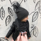 Extremely stylish girl doublelayered beanie with a tulle FASHIONISTA dark grey