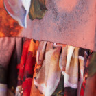 Female luxurious dress WOW 3D flowered brown maxi